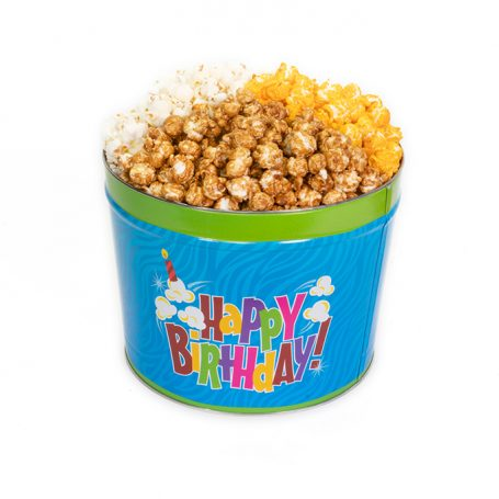 Two Gallon Happy Birthday Popcorn Can with Three Kinds of Popcorn