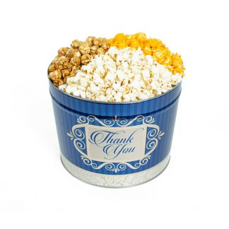 "Two Gallon ""Thank You"" Popcorn Can with Three Kinds of Popcorn"