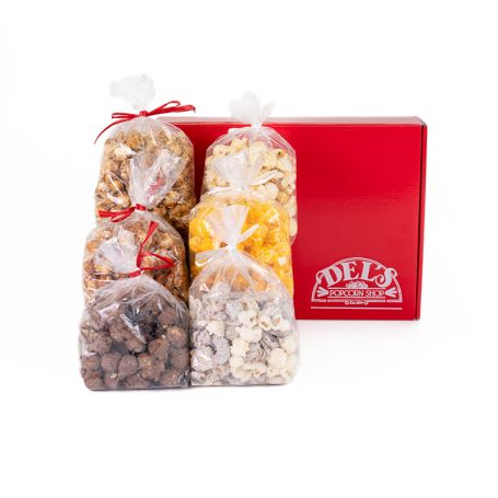 Large Red Del's Popcorn Gift Box
