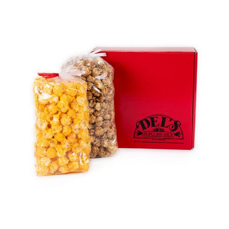 Small Red Del's Popcorn Gift Box