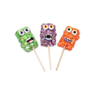 Silly Popcorn Monsters on a Stick